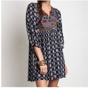 Multi Print Babydoll Dress